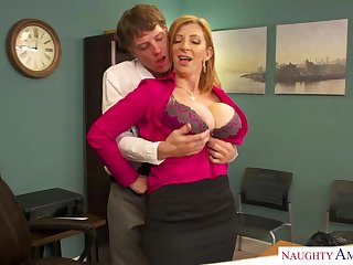Sara Jay is a well allied blond dame with mammoth udders who enjoys hump ripening