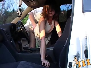 Nerdy german public doggystyle quickie
