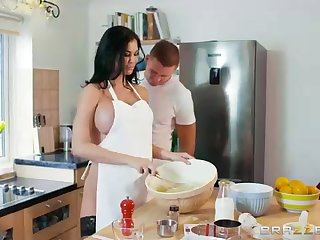 Sex-Positive dark haired is throating a rock rigid manmeat for the benefit having some cooking classes