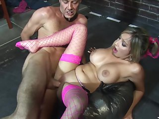 Beauteous porn dignitary in fishnet stockings Romana Ryder rides a hard cock