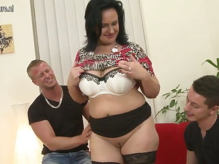 Sexy MOM suck and charge from not her SON and son