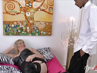 Honcho blonde mature gets big black cock deep inside their way vagina