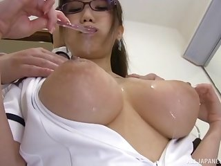 hot Hamaguchi Ena adores doggy style after a tit job beyond everything dramatize expunge floor