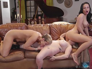 Full lesbian trine between Ryan Keely, Aiden Starr and Goggles Rush