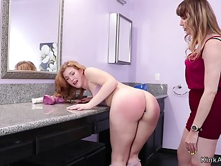 Step housewife spanks coed in bathroom