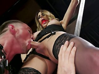 Bisexual gay blade gives a blowjob less crucified coupled with constrained round ladyboy Casey Kisses