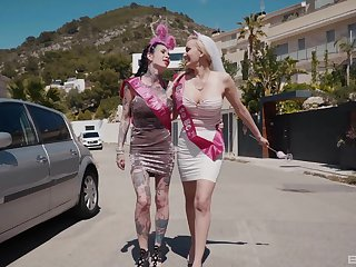 Trinity shafting just about tattooed wife Megan Inky and Amber Jayne