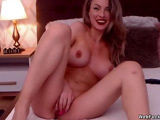 Plump camgirl masturbates with sextoys