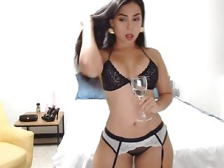 Glamour infant dances in lingerie on webcam