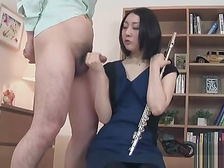Nerdy, innocent Japanese girl gives hot footjob