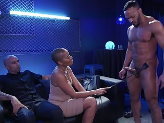 Watch wholly wild hardcore MMF threesome with big racked black nympho