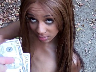 Petite Black Teen Paid Cash To Fuck White Boys Outdoors POV