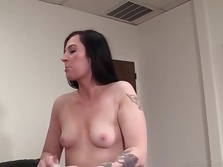 Tattooed brunette, Hailey went to a porn sheet casting and got fucked the way she always wanted
