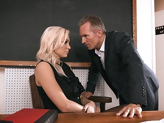 Sexy teacher gets laid in class and sooner jizzed on face
