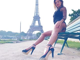 Maria flashes her sexy tits in Paris hard by the Eiffel Tower