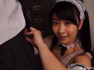 Lucky guy films Minano Ai while she gives him a sloppy blowjob
