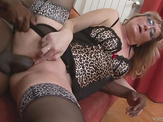 Mature wife with a phat ass transfiguring into a black cock slut