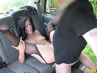MILF on every side smashing ass, off one's chump back seat sex