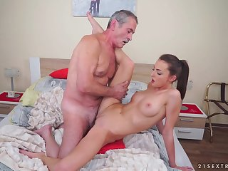 Horny Skinny Teen With an increment of Grandpa - Hard Sex Sheet
