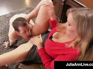 Cock Teasing Cougar Julia Ann Won't Allow Sex Slave Down Cum!