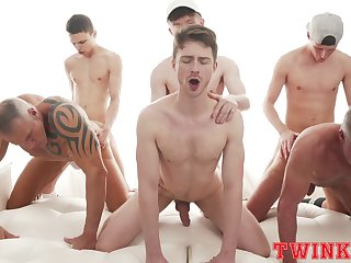 Six hunks stock for hot anal shagging in a group setting
