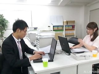 Hardcore fucking on the office table with a sexy Japanese amanuensis