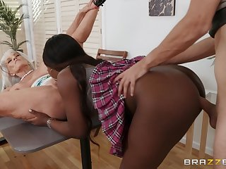Young stud's interracial FFM triumvirate in Noemie Bilas coupled with Sally D'Angelo