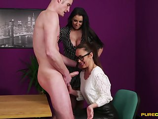 Anorectic dude just about a large dick gets a BJ from Brooklyn Erotic & Hannah Shaw