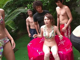 Lay Japanese babes team up to swell up two dicks in eradicate affect pool