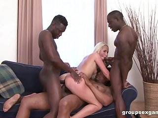 Black men throat and gag blonde chick in anal gangbang