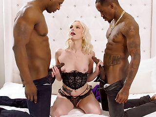 Massive dark-hued penises degree blond's cock-squeezing vag