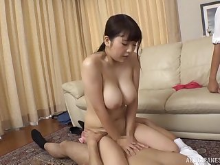 Gotou Rika agrees anent bang with two guys while her tits bounce